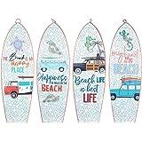 CAPRILO. Set de 4 Adornos Pared Decorativos de Madera Tablas Surf-Beach. Cuadros y Apliques. Decoración Hogar Marinera. Muebl