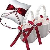 EinsSein 1x Cuscino Matrimonio Parentesi 20x20 Grande + 2X Cestino sparso Rosso-Bianco Set portfedi Cuore Avorio Porta Cuscin