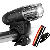 Gluckluz Bike Light Set Waterproof Bicycle Front Rear Light Rechargeable Super Bright Lights for Cycling Camping Hiking Safet