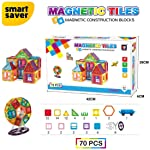 Smart Saver 3D Magnetic Magna-Tile for Kids – Set of 70 Blocks to Learn Shapes, Colors, & Alphabet – Magnetic Toys...