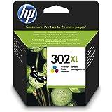 HP 302XL F6U67AE, Tricolor, Cartucho de Tinta de Alta Capacidad Original, compatible con impresoras de inyección de tinta HP