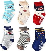 Wobon 12 Pares de Calcetines Antideslizantes para Niños Pequeños Algodón Lindo con Puños, Calcetines Antideslizantes para Bebés Diseños al Azar