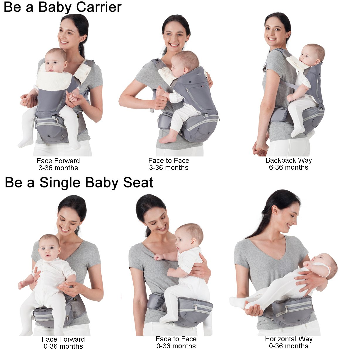 """Bebamour Baby Carrier Hip Seat 6 in 1 Clasical Baby Carrier Backpack 0-36 Months with 3PCS Baby Drool Bibs, Convertible Baby Carrier (Black) bebear ★SPORTY CHIC - The baby carrier is used soft classical cotton with polyester touching. The breathable effective is more than 76% which is better than ordinary cotton. Baby will feel best comfort and soft in it. ★C+M DESIGNED - Ergonomic baby carrier is all parents' pursue. The hip seat is designed according to baby's develoment. Size: L9.8""""*H11.8""""*W7""""(L25*H30*W18CM); Weight is about 1.82 lbs(0.83KG). The upper part can be detached to be a single seat. You can put baby in 3 ways, horizontal, face-forward and face-inward. ★GOLDEN RATIO - Best comfort for baby who is from 3-36months and whose biggest weight is about 33 lbs (14.9KG). Baby can be carried in another 3 ways by face-forward, face-inward and backpack position. 2"""