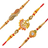 Om Jewells Gold Platted Set Of 3 Red And Green Meenakari Delicate Rakhi Combo Set Decorated With Crystal Elements For…