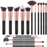Brochas de Maquillaje EmaxDesign 17 piezas Pinceles de maquillaje professional fibra sintética para las cejas, base de...