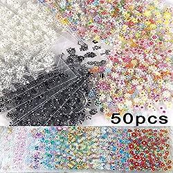 Tukistore 50 Blätter 3D Design Nagel-Aufkleber Nail Sticker Selbstklebende Spitze Nail Art Aufkleber Decals DIY Tipps Nail Art Dekoration Farbe Nagel Schönheit Werkzeug (Zufällige Farbe Muster)