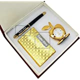 Crownlit Personalised Gift Set with Personalised Metal Pen and Card Holder, Your Name Enrgaved