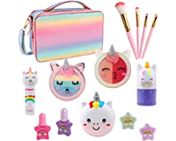 Kids Makeup Sets for Girls - Real Washable Makeup Kit with Play Purse Unicorn Makeup Cosmetic Kit Birthday Gifts for Toddler