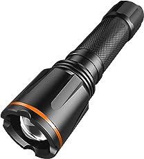 Torcia ricaricabile LED, Tacklife LFL2A, 900 lumen Torcia tattica ultraluminosa, ricaricabile, zoomabile, LED CREE, resistente all'acqua IP64, 6 modalità di illuminazione per il campeggio e l'escursionismo