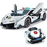 Top Race Control remoto RC Police Car TR-911, 4D Motion Gravity y control del volante, escala 1: 12, 2.4GHz, con luces, siren