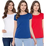 American-Elm Women's Set of 3 Round Neck Slim Fit Cotton T-Shirt