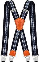 Decalen Hosenträger für Herren Breit 4 cm mit sehr Starken 4 Metall Clip Lang Einheitsgröße für Männer und Damen Einstellbar und Elastisch X Style