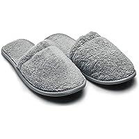 Arus 1 Paire Pantoufles de Mules - Taille: 38/42 EU ou 43/46 EU, Chaussons éponges Mules de Bain - 100% Coton Eponge
