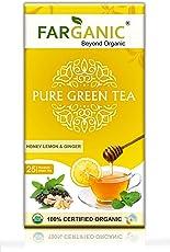 Farganic Lemon Ginger Honey Green Tea Bags. 100% Certified Organic Green Tea. 25 Tea Bags