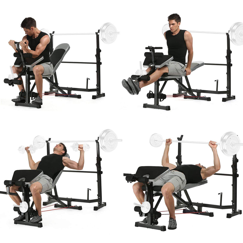 Ancheer Banc De Musculation Abdominaux Ensemble De Multifonction Pour Les Exercices En Interieur Complet Inclinable Fitness