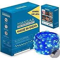Mansaa Essentials - Copper String LED Lights - Home Decoration (1, Blue (33ft, 100 LEDs))