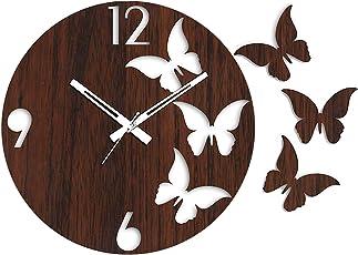 Rise n Shine Butterfly Clock Wooden Round Housewarming Clocks - EDWALCLK14