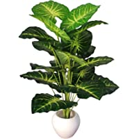 BK MART Artificial Plant with Rubber Pot (Green, Yellow, 1 Piece,50 x 14 x 10 cm)