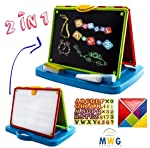 MWG Exports Co 2 in 1 Double Sided Magnetic Letterboard Tabletop Blackboard & Magnetic Whiteboard with Chalk, Letters and...