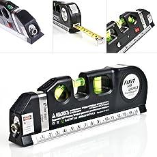 Multipurpose Level Laser Horizon Vertical Measure Tape Aligner Bubbles Ruler,Laser Level Pro