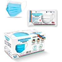Mascherine Chirurgiche per Adulto 50pz Made in Italy Certificate CE Dispositivo Medico Classe I Tipo II BFE ≥ 99% Colore…