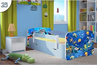 Kocot Kids Kinderbett Jugendbett 70x140 80x160 80x180 Blau Mit  Rausfallschutz Matratze Schubalde Und Lattenrost Kinderbetten Für