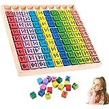 WELLXUNK Tablas Multiplicar,Juego de Tabla de Multiplicar Tabla de Multiplicar de Madera,10x10 ábaco de Madera Matemáticas,pa