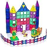 Playmags Juego de 150 piezas de azulejos de construcción magnéticos: bloques de construcción 3D magnéticos transparentes, ima