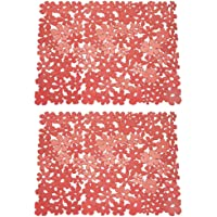 mDesign Set of 2 Blooming Kitchen Sink Mats – Plastic Sink Protector Mat – Kitchen Sink Accessories – Large Kitchen Sink Mats with Flower Pattern – Red