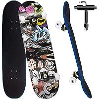 Skateboard per Principiante, 80x20 cm Skateboard Completo in Legno per Bambino Adolescenti Adulto, 7 Strati di Acero…
