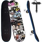 Skateboard per Principiante, 80x20 cm Skateboard Completo in Legno per Bambino Adolescenti Adulto, 7 Strati di Acero Doppio K