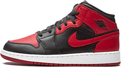 Nike Air Jordan 1 Mid (GS), Scarpe da Basket, Black/Gym Red-White, 35.5 EU