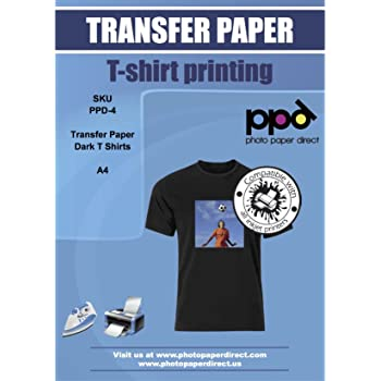 PPD A4 A getto d'inchiostro Carta di trasferimento per il ferro sulla scuro magliette - 10 fogli