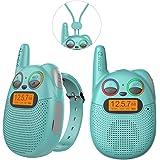 QNIGLO Q136 Walkie Talkie Niños Recargable,Radio FM Alcance de 2 Km Ojos LED Parpadeantes Correa Portátil de Reloj,Montar en