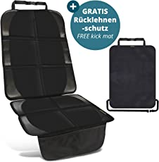 Kindersitzunterlage in Schwarz inkl. 1 GRATIS Trittschutz – hochwertiger Autositzschoner in universeller Passform – geeignet für Isofix – rutschfest, pflegeleicht und sicher – von SMARTPEAS®
