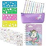 MMTX Papelería de Unicornio para Niñas Bolígrafos, Pegatinas, Plantillas de Dibujo, Cuaderno, Estuche para Lápices Unicornio