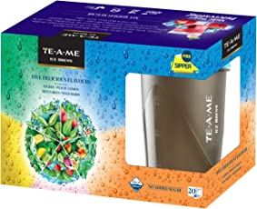 TE-A-ME Ice Brews Cold Brew Ice Tea, Five Delicious Flavour with Free Sipper Bottle, 20 Pyramid Bags