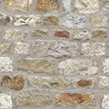 Country Stone Rustic Old Brick Wall Wallpaper Faux Effect Realistic Y�L