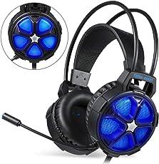 EasySMX Noise-Cancelling-Kopfhörer, G2000 Stereo Gaming Headset für PS4, Xbox One, Bass-Over-Ear-Kopfhörer mit Mikrofon, LED-Licht und Lautstärkeregelung für Laptop, PC