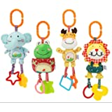 Colorful soft infant rattle and teether toy plush hanging baby rattles, pack of 4