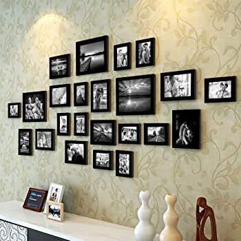 Painting Mantra Art Street Extravagant Individual Wall Photo Frame, Set of 23 (Multiple Size, Black)