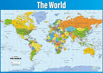 World Map Poster Geography Poster For Students Teachers - High quality world map poster