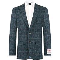Scottish Harris Tweed Mens Dark Blue Windowpane Check Tweed Jacket Regular Fit 100% Wool Notch Lapel-48R