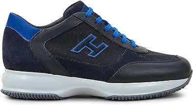 Hogan Sneaker Interactive Nera e Blu in Suede e Tessuto - HXM00N0Q101 O8N718N - Taglia