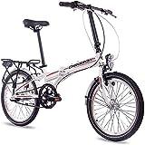 CHRISSON 20 Zoll Faltrad Klapprad - Foldrider 2.0 Weiss - Faltfahrrad für Herren und Damen - 20 Zoll klappbares Fahrrad mit 3 Gang Shimano Nexus Nabenschaltung - Folding City Bike