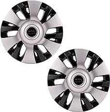 "Autofy 12"" 12 Spokes Snap-On Wheel Cap (Set of 2, Grey and Black)"