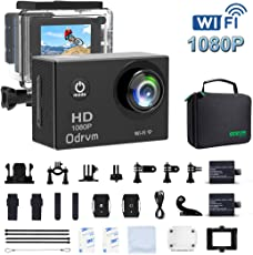 ODRVM 2. 0-Inch WIFI Underwater 12MP Sports Action Camera Diving 30M Waterproof Camera, HD 1080P Motorcycle Helmet Cam Bicycle Action Camcorders for Riding, Racing, Skiing, Motocross And Water Sports
