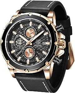 BENYAR Montre analogique à Quartz chronographe pour Homme Cadran Simple Mode Montre en Cuir décontractée, étanche 30 m