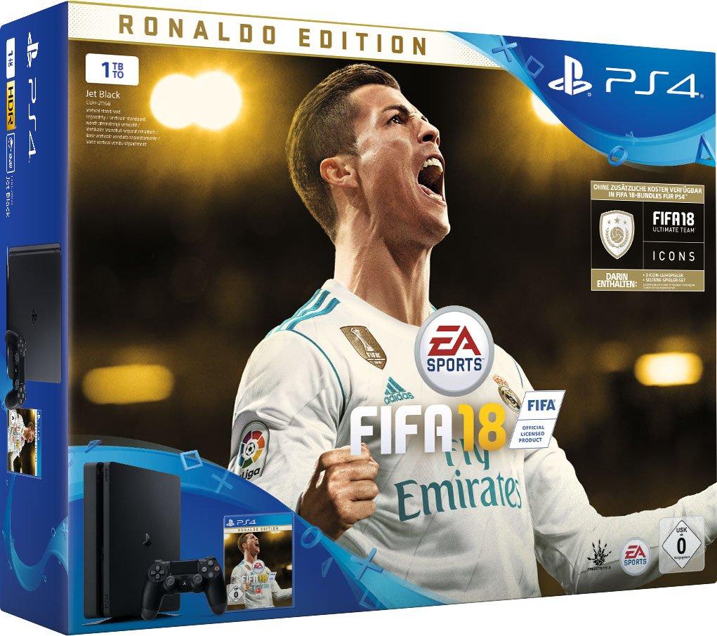 PlayStation 4 1TB Black + Fifa 18 Ronaldo Edition (deluxe) + PS Plus Voucher 14 Tage [Edizione: Germ