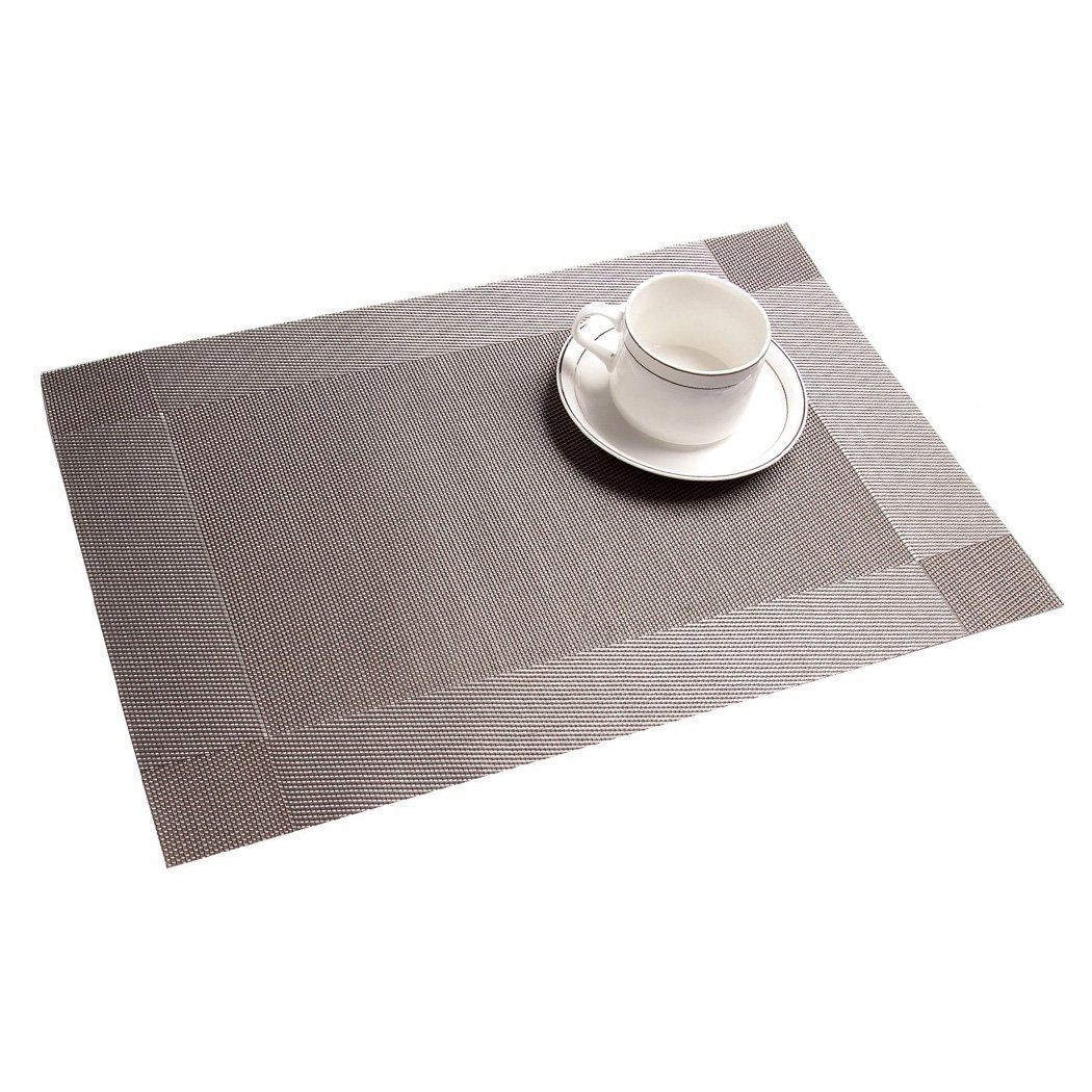 Addfun®table Mats(set Of 8),premium Washable Place Mats Nonslip Insulation  Pvc Mats For Dining Table (silver): Amazon: Kitchen & Home